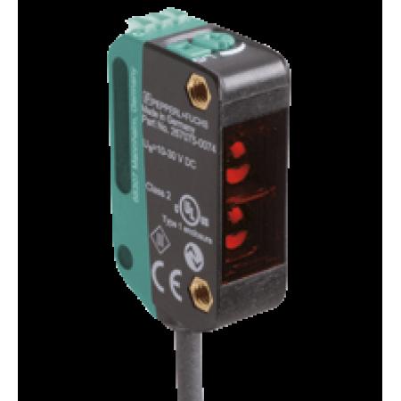 OBT300-R100-2EP-IO-0,3M-V31-L  Minyatür Kübik Arka Fon Bastırmalı Laser, 300 mm Algılama, 2 x Push-Pull L.On + D.On Çıkış, 0,3m Kablolu M8 4 Pin, Cisimden Yansımalı Fotoelektrik Sensör