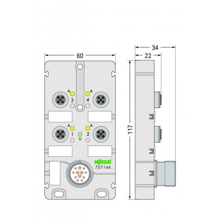 757-144  M12, 4 yollu, 4 kutuplu, M23 konnektörlü LED' li