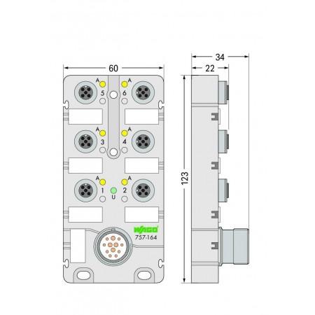 757-165  M12, 6 yollu, 5 kutuplu, M23 konnektörlü LED' li